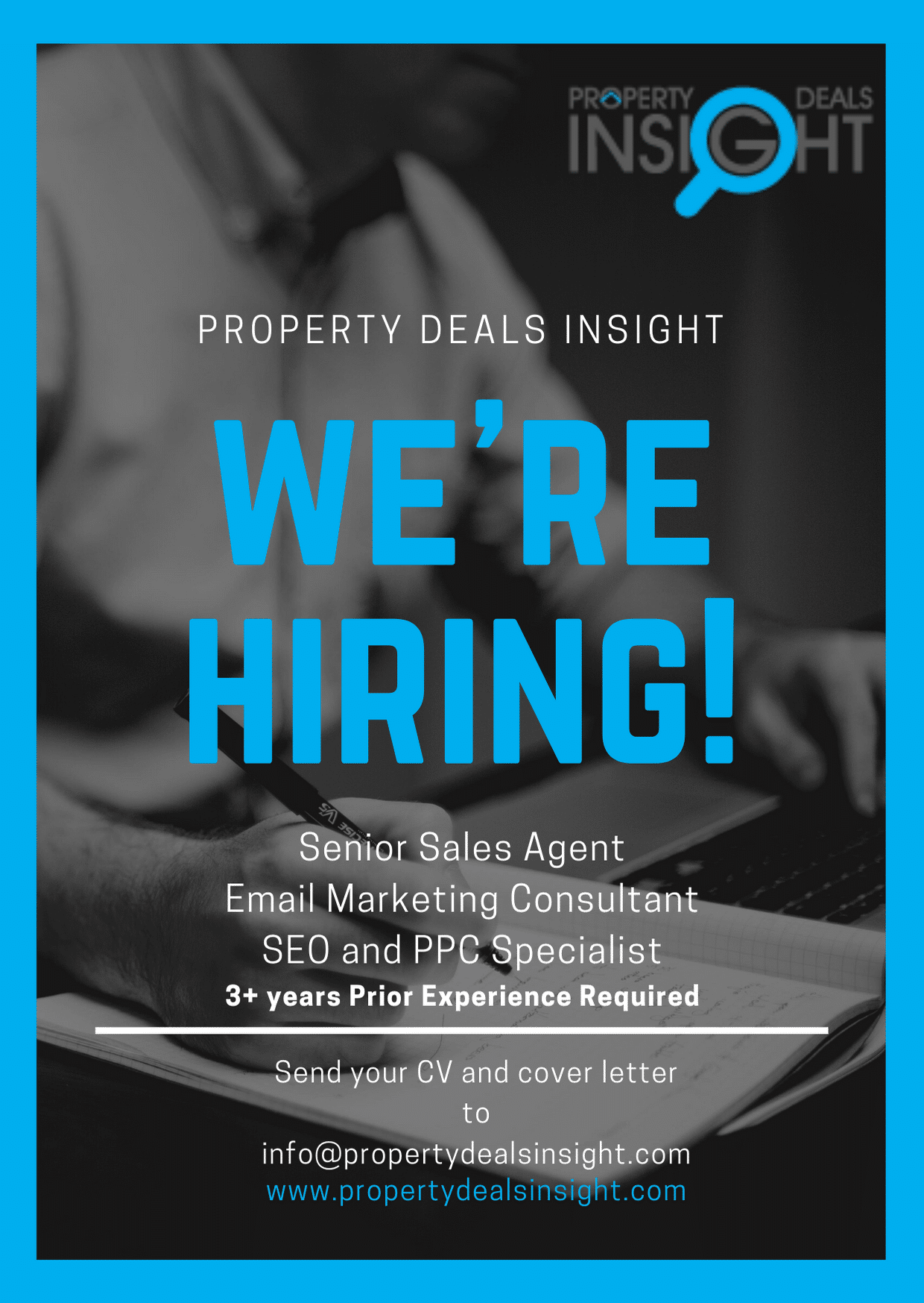 Property Deals Insight is hiring experienced members for our sales and marketing team. If you are someone who can make a real difference then send in your CV and a cover letter to info@propertydealsinsight.com. 3+ Experience required. #salesexpert #marketingexperts #hiringmarketing #propertydealsinsight